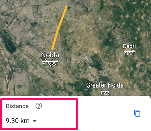 measure distance on Google Earth app