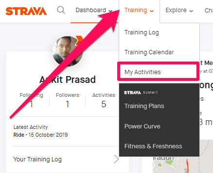 my activities on strava