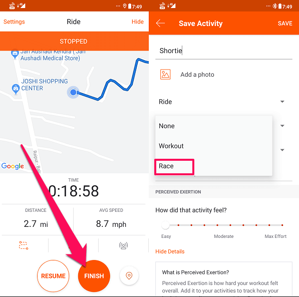 tag a run as a race on Strava