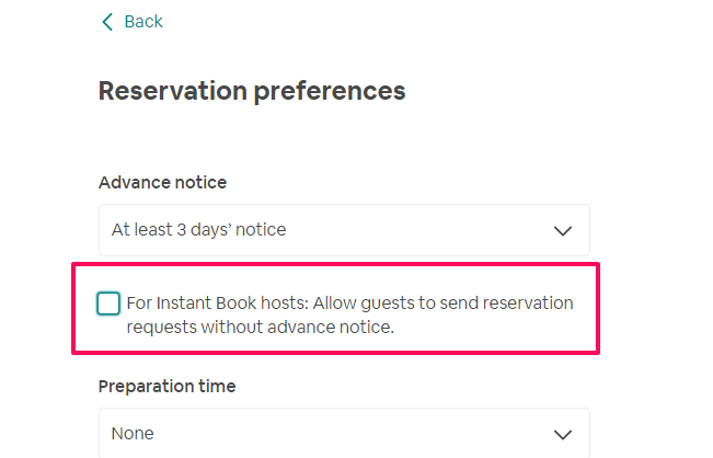 turn off instant booking on Airbnb
