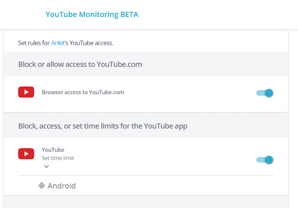 youtube monitoring