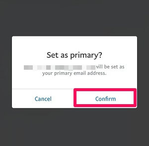 change primary email address in paypal using mobile app