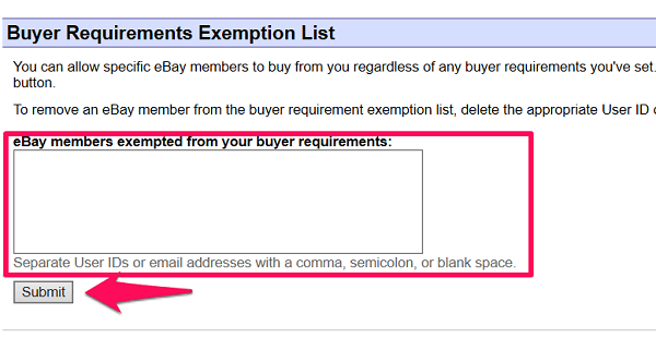 exemption from ebay buyer requirements