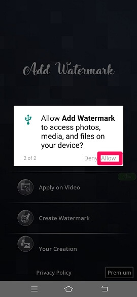 permission to access media