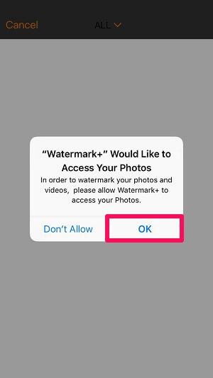 permission to watrermark plus to access photo