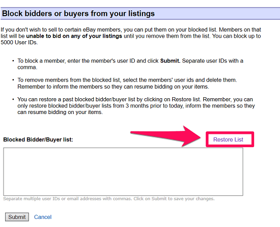 restore ebay block list