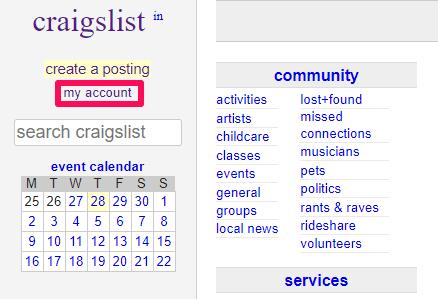 Craigslist my acount