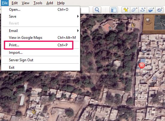 Print option on Google Earth