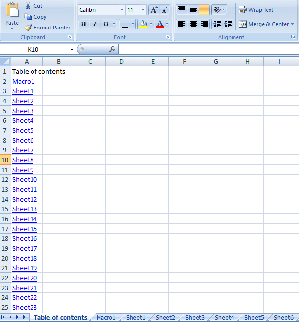 create index in excel using vba codes