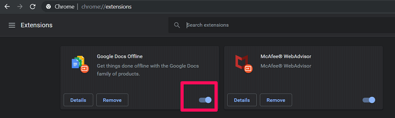 disable extensions on google chrome