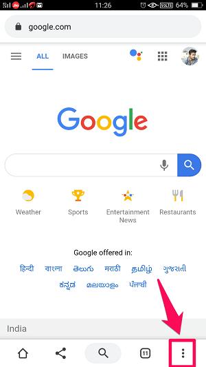 google chrome menu