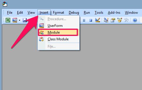 insert module to vba editor
