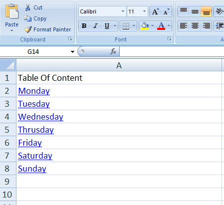 table of content in excel
