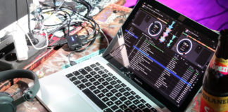 a laptop with an app to record music for spotify