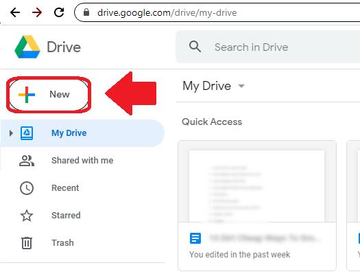 Screenshot - Click New Folder in Google Drive