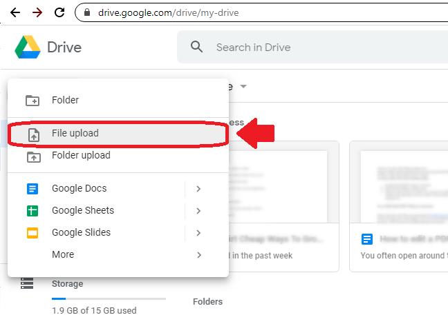 Screenshot - Click File Upload in Google Drive