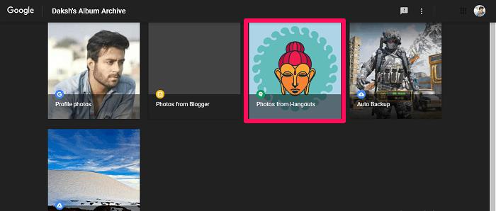 choose hangouts folder