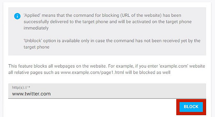 bottom part of Block Websites window with block button highlighted