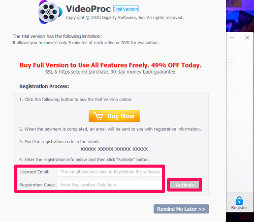 Videoproc registration