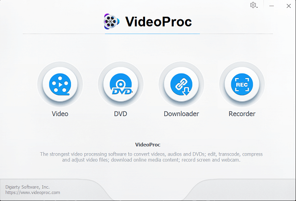 main interface of videoproc