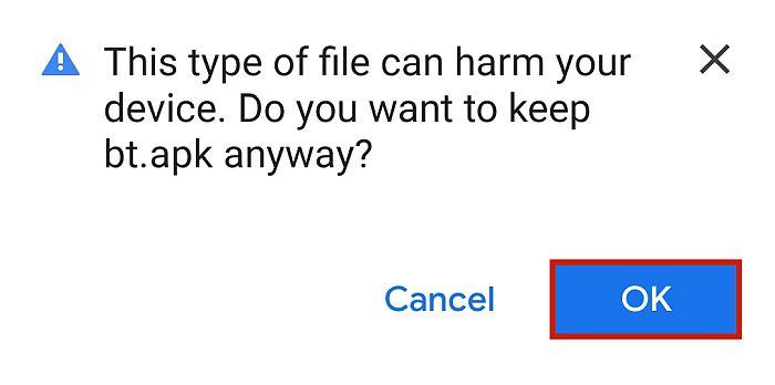 Phone warning against virus
