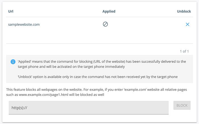 Blocked sites