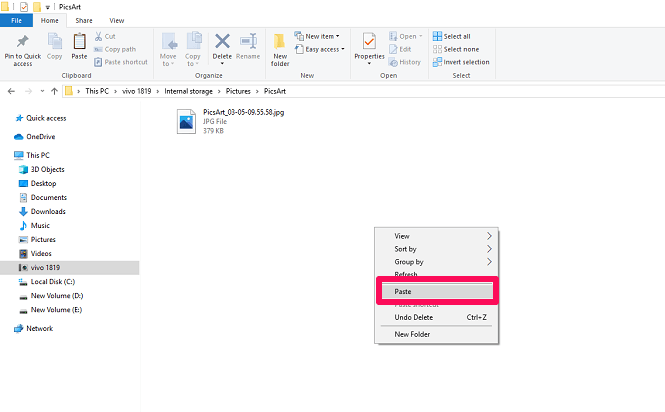 move photos to another folder using pc