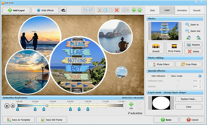 SmartSHOW 3D Editing Tools