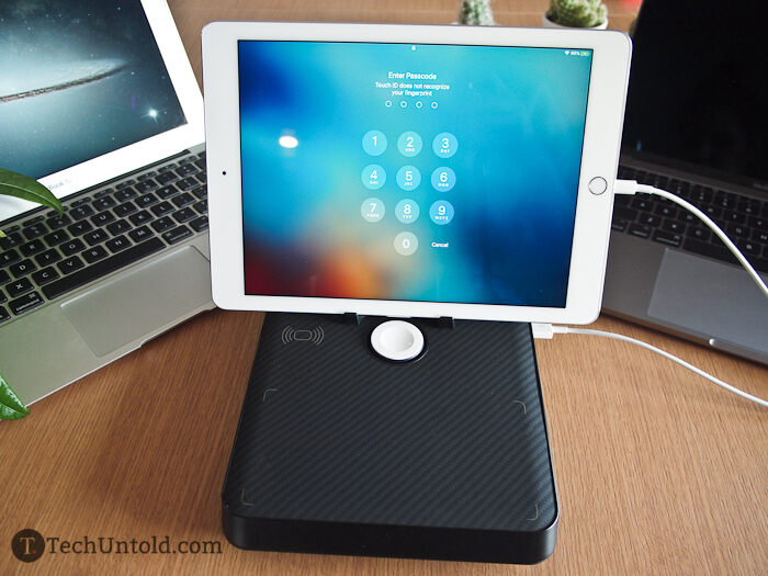 The magnetic holder steadies an iPad in the landscape position