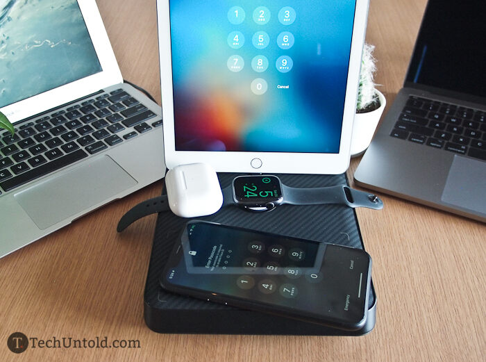 An Air Omni is charging four Apple devices simultaneously