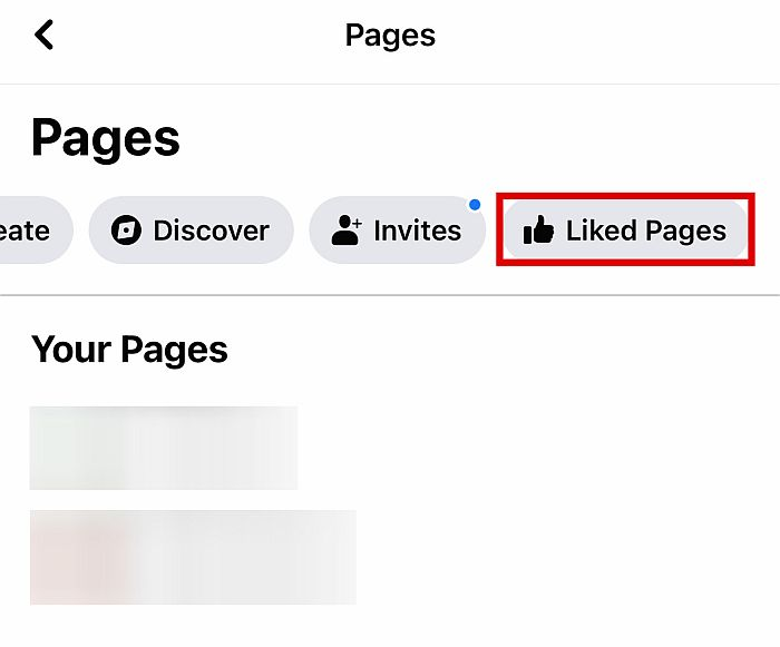 Click on Liked Pages to see all the pages you currently like.