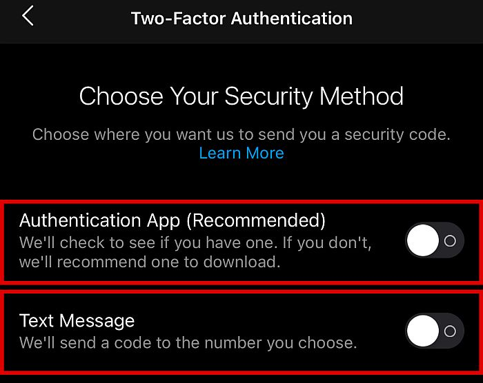 Choose your security method