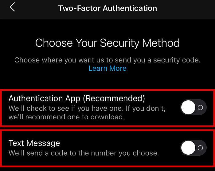Choose a security method