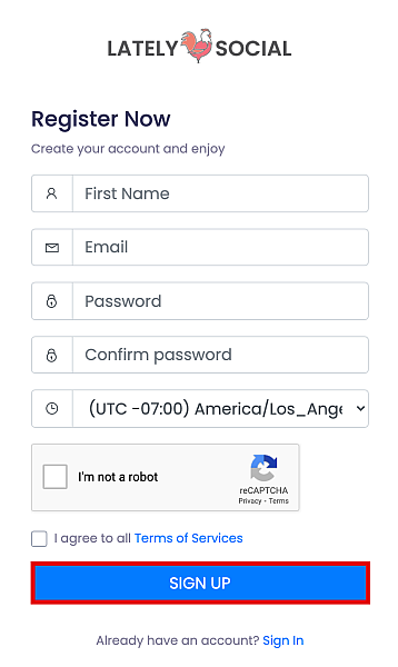 Sign up for an account on LatelySocial