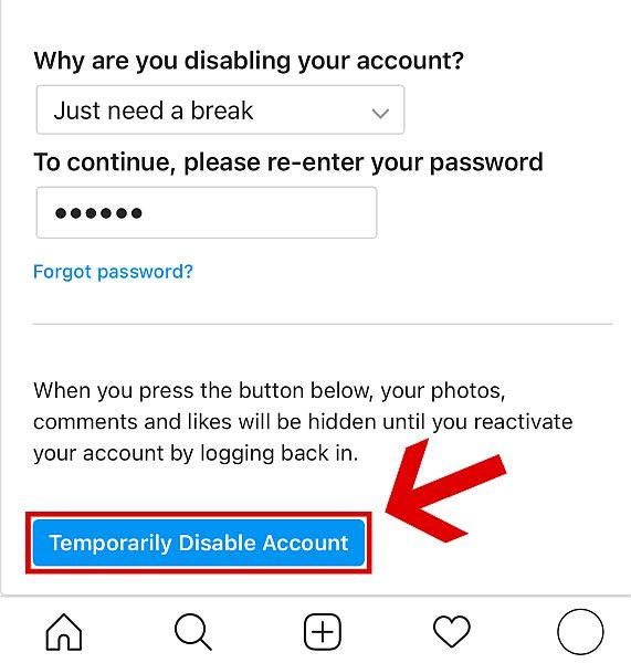 "Click ""Temporarily Disable Account."""