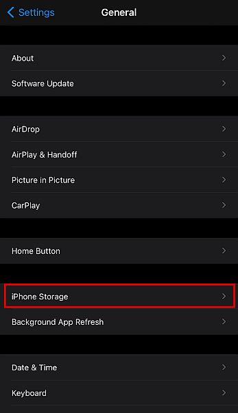 Select iPhone storage