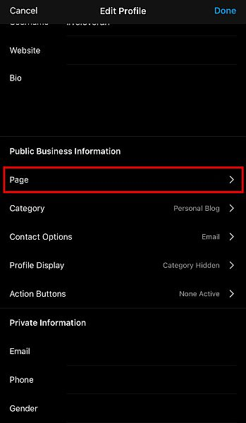 Scroll down to Public Business Information and click Page