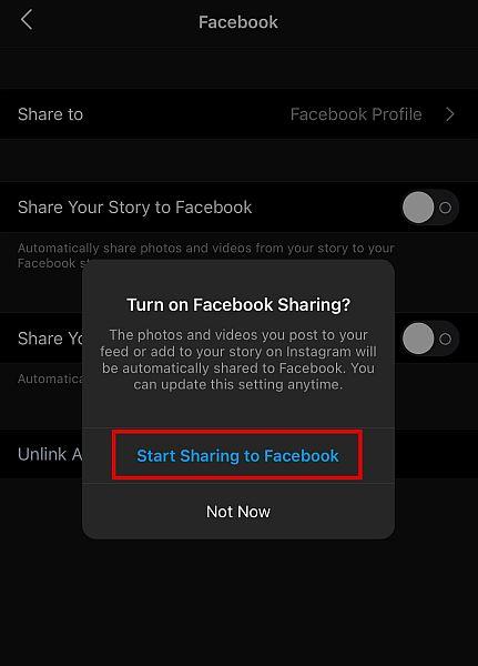 tap Start Sharing to Facebook