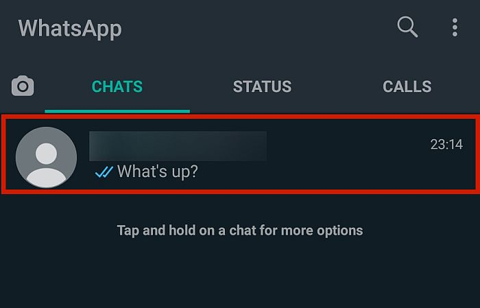 Tap whichever chat conversation you want to export.