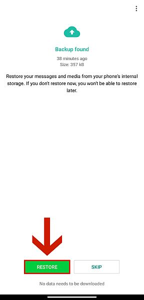 Confirm that the information is correct, then tap Restore.