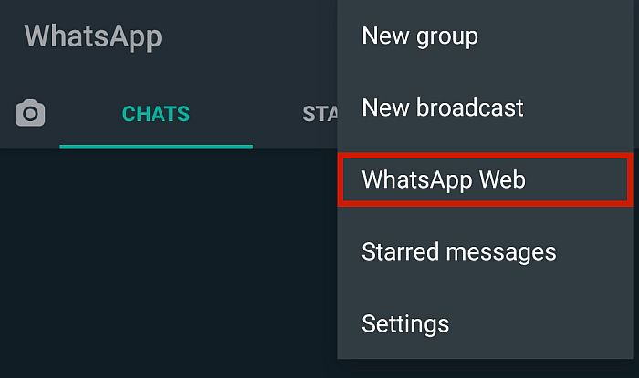 It will open up a new dropdown menu. Click WhatsApp Web.