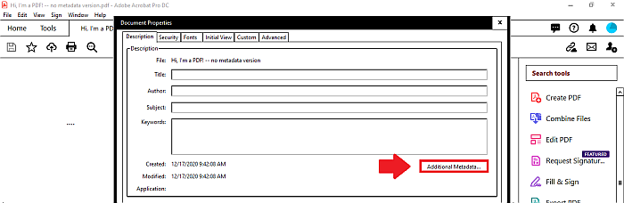 Acrobat additional metadata