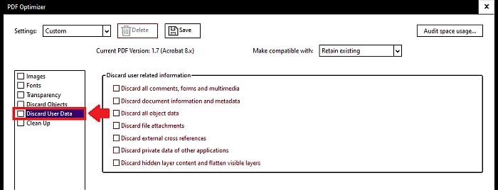 Acrobat discard user data 2
