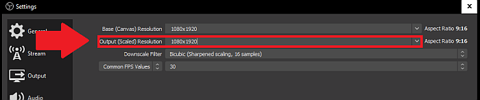OBS Output Resolution