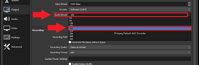 OBS audio bitrate