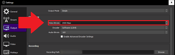 OBS video bitrate