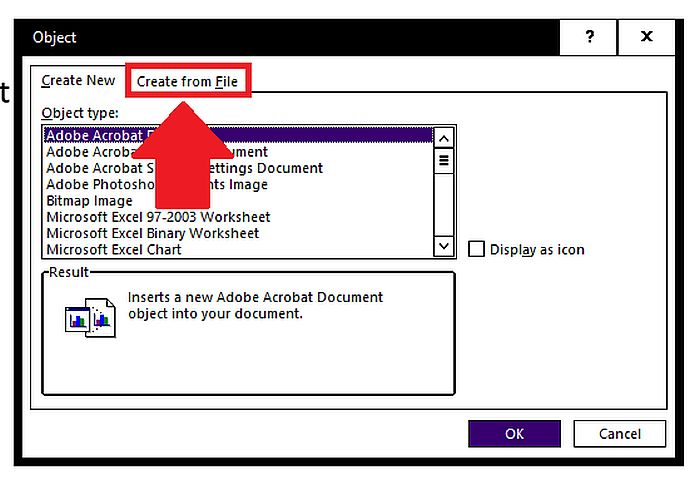 Creating an Object from File to insert in a Word Document