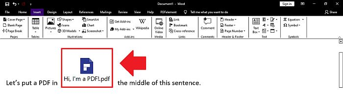 PDF file showing as an inserted object in a Word File