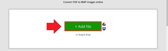 Clicking the Add file button in PDF Candy