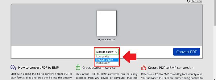 Choosing Quality level in PDFCandy